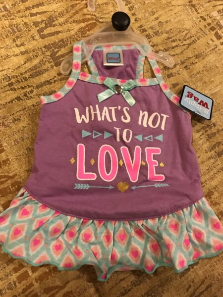 SIMPLY WAG Purple quot;WHAT#x27;S NOT TO LOVEquot; DRESS Puppy Dog medium $16.50