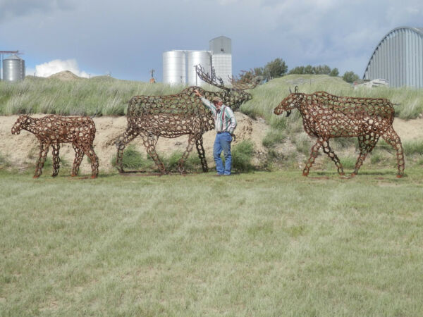 LIFE SIZE MOOSE FAMILY OUT of HORSE SHOES.  3 PIECES.