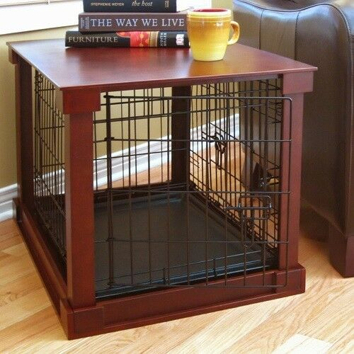 Indoor Kennel Dog Furniture Crate End Table With Wooden Cage Cover Medium $329.99