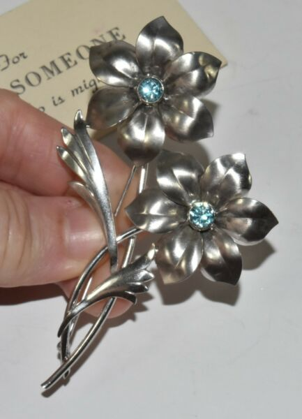 Vtg HSB Harry S Brick Sterling Silver Genuine Blue Topaz Flower Pin Brooch