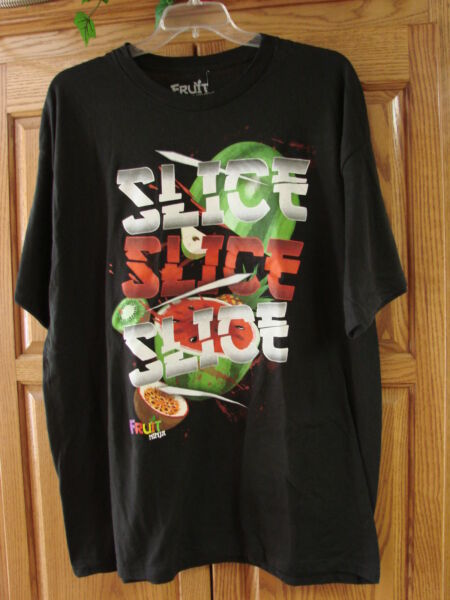 NEW MENS NINJA BLACK SLICE T SHIRT SIZE 2X