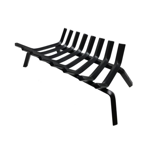 Black Wrought Iron Fireplace Log Grate 24 inch Wide Heavy Duty Solid Steel In...