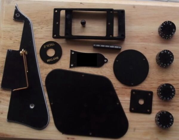 Pickguard Bracket Ring Back Cover Plate Knobs Kit (14pcs set) Black Fit L.P Guit