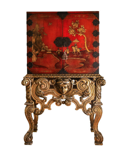 English Lacquer Cabinet on Stand Circa 1850 Gold Leaf Stand
