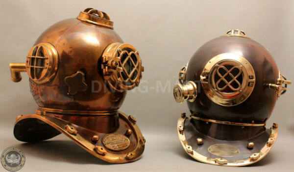 Set Of 2 Pcs U.S Navy Mark IV and V Solid Copper Steel and Brass Diving Helmet