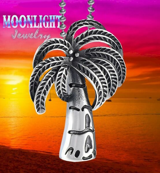 New Palm Tree Tropical Beach Cremation Urn Keepsake Ash Silver Memorial Necklace
