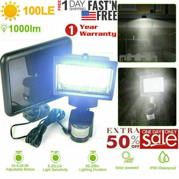 100LED Solar Powered Motion Sensor Light Waterproof Outdoor Garden Security Lamp