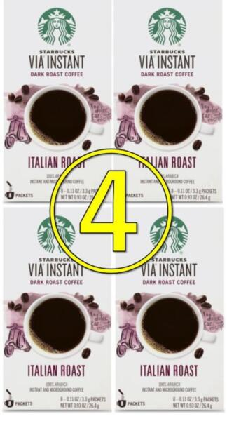starbucks via italian roast 32 pouches (4 x 8 ct) instant coffee