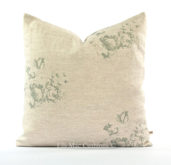 Cabbages and Roses Natural Hatley Shabby Chic French Blue Cushion Pillow Cover