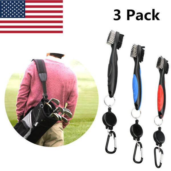 Golf Club Cleaning Brush 2 Sided Iron Groove Shoe Spike Retractable Value 3 Pack