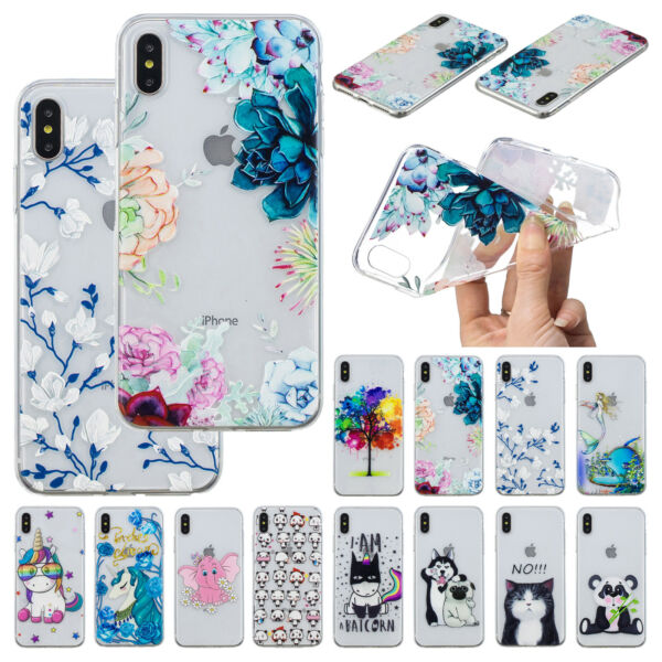 Cute Pattern Clear TPU Silicone Soft Case Cover For iPhone XS Max X XR 7 8 Plus $5.99