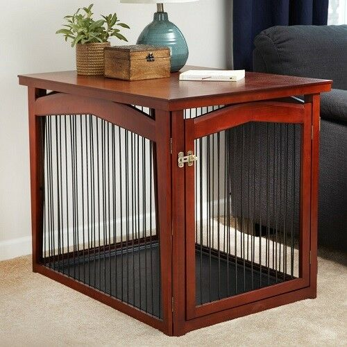 Merry Pet Crate and Gate 2-in-1 Solid Wood End Table For Large Dog