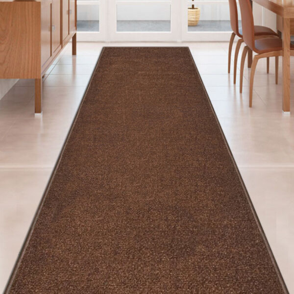 Custom Size SOLID BROWN Stair Hallway Runner Rug Non Slip Rubber Back $59.99
