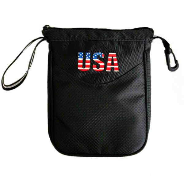 Golf Pouch Bag Valuables Accessory Zipper Holder Balls & Tees Black Unisex Sport