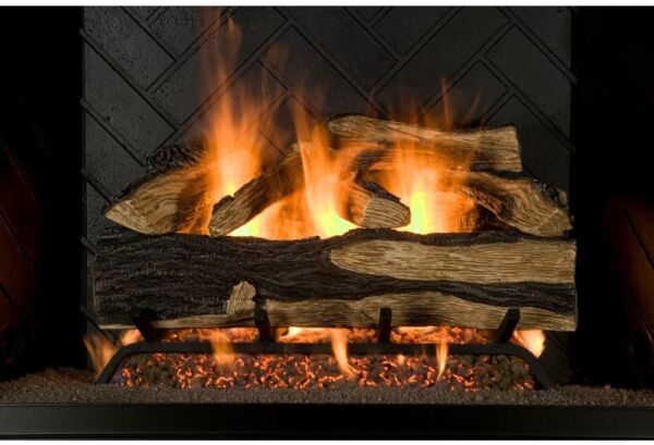 Gas Fireplace Logs Set Vented Design 24-Inch Natural Decorative Glowing Embers