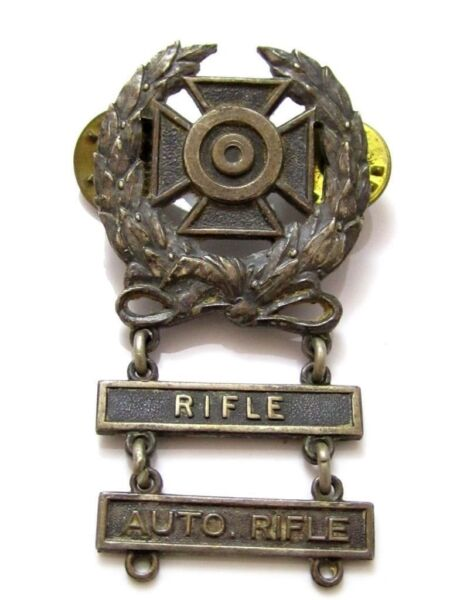 Vintage Rifle Automatic Shooting Medal Award Pin Brooch*120 Silver Filled*521D $32.24