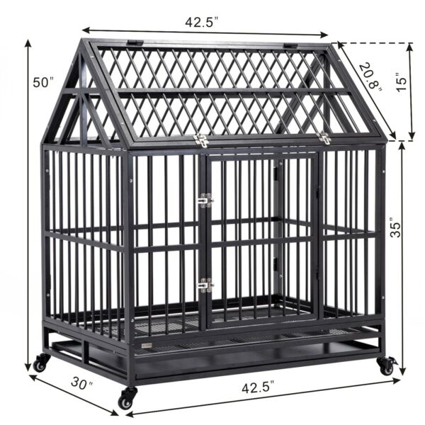 42quot; Dog Cage Strong Metal Pet Crate Heavy Duty Kennel House w Wheels amp;Tray Roof $229.99