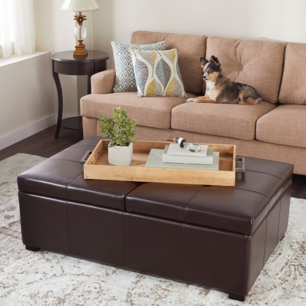 Dark Brown Bonded Leather Double Flip-Top Storage Ottoman Cushioned Coffee Table