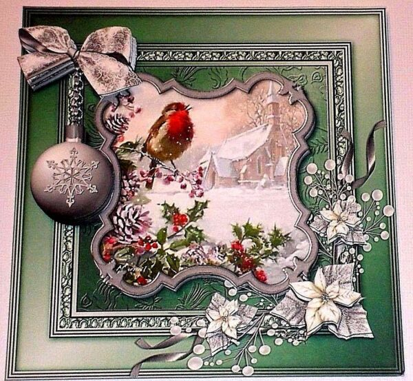 Handmade Greeting Card 3D Christmas With A Bird And Snow Scene Sentiment Inside