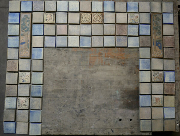 California Art Tile Vintage Fireplace with Scenic Tiles