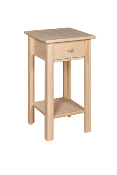 AMISH UNFINISHED RUSTIC - Small Plant Stand With Drawers  - SOLID PINE WOOD