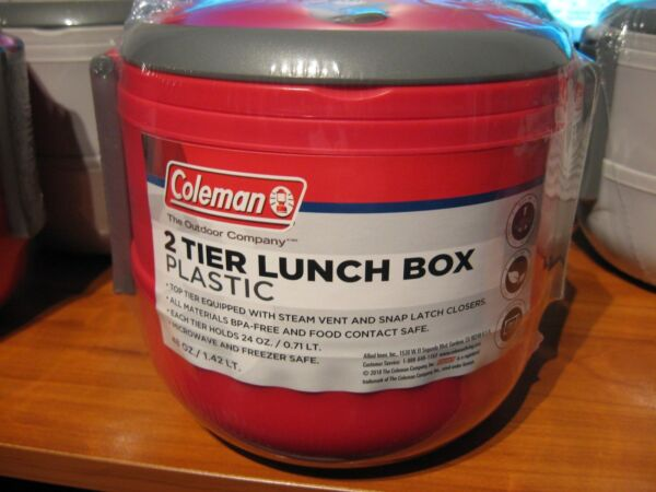 Red Coleman 2 Tier Compartment 48 Oz Lunch Box Microwave amp; Freezer Safe BPA Free $15.95