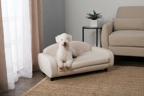 Dog Sofa Bed Upholstered Launger Small Beige $235.00