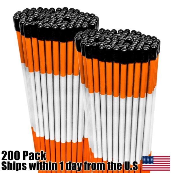 200 Pack of 48quot; Safety Orange Reflective Driveway Markers Snow Plow Stakes 5 16quot;