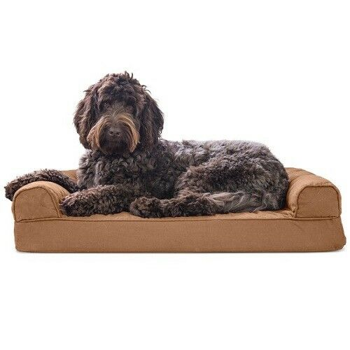 Furhaven Dog Orthopedic Bed Memory Foam Bolster Removable Cover Brown XL $99.00