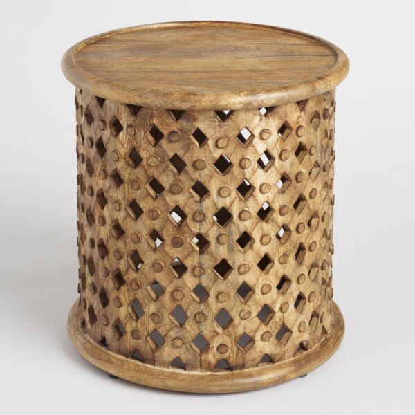 Small Round Carved Wood Accent Side Table Fire Etched Textured Tribal Stool