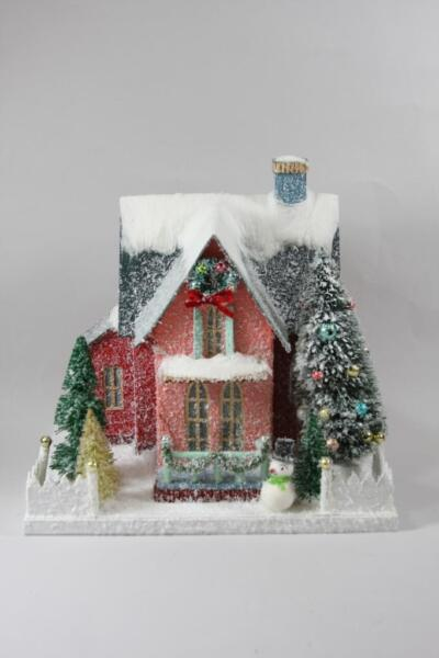 Cody Foster Red Holiday Finery House with Snowman Christmas Mantel Village