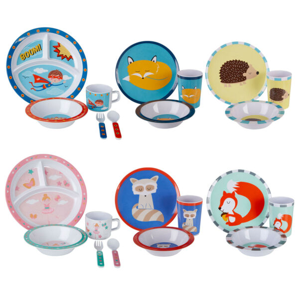 Mimo Kids Mealtime Cutlery Dinner Set Boys Girls Breakfast Food Bowl Plates Cups