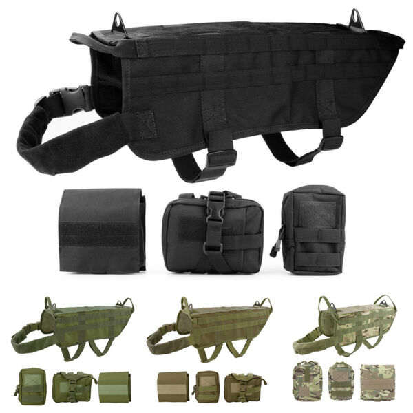 Military Tactical Training K9 Police Dogs Harness 600D Nylon Molle Vest S M L XL $9.89