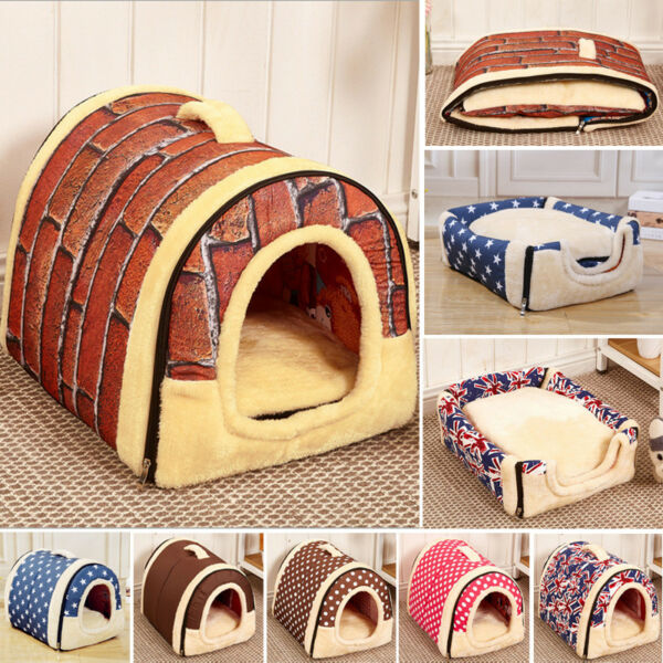 Dual Pet Dog Cat Bed House Portable Puppy Dog Cave Nest Pad Cozy Cushion $16.50