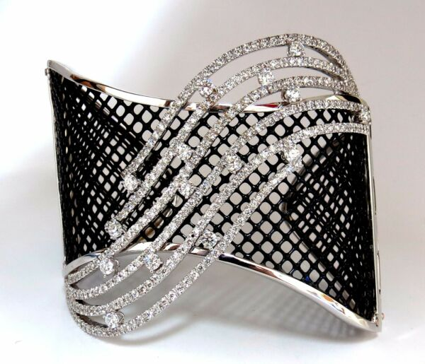 4.30ct Diamonds Bangle Cuff Bracelet 18kt Fish Net Grill Blackened Spring Hinge+