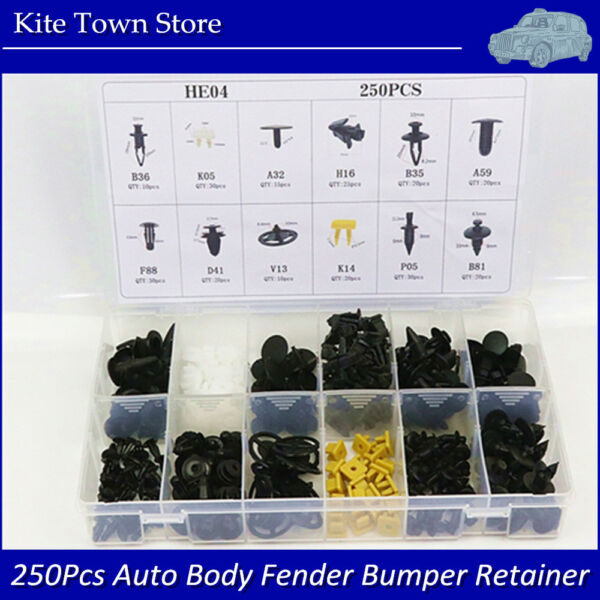 250Pcs Auto Body Fender Bumper Retainer Fastener Clip Kits For Nissan Exquisite