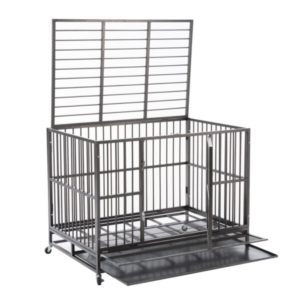 48quot; Dog Cage Crate Kennel Heavy Duty Pet Cage w Metal Tray Wheels XXL Playpen $219.99