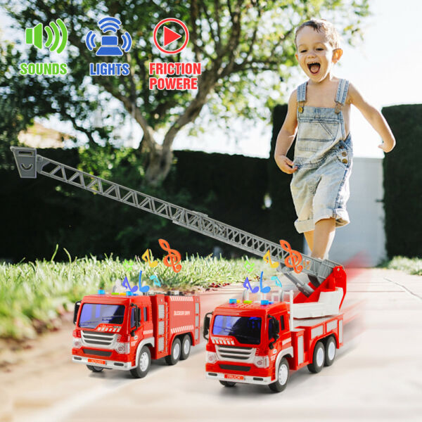 Set of 2 Fire Truck Engine Toy Water Tender Fire Rescue Ladder Truck Light Sound