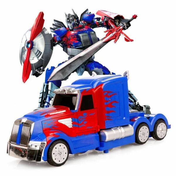 Transformers Optimus Prime Truck Light Up  Bump And Go Car LED Toy Action Sound