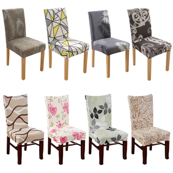 2 4 6 8pcs Spandex Stretch Dining Chair Seat Printed Covers Wedding Party Decor