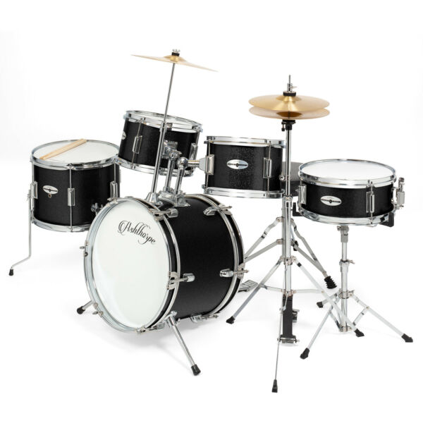 5-Piece Pro Junior Drum Set with Brass Cymbals - Complete Percussion Kit