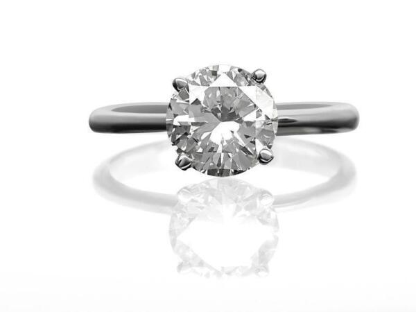 DIAMOND ENGAGEMENT RING SOLITAIRE ROUND 2.00 CT D S1 14k WHITE GOLD CHRISTMAS