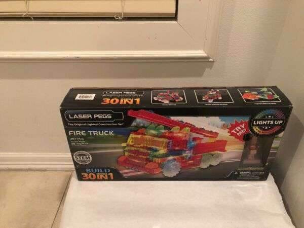 Laser Pegs Fire Truck 30 in 1 Build Building Set Lights Up - Rescue Racer - NEW