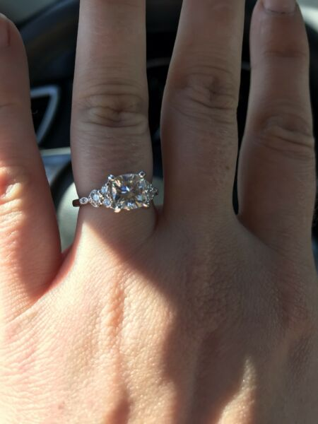1.2ct Gabriel amp; Co custom Cushion Cut Moissanite Engagement Ring Size 6.5 $1970.00