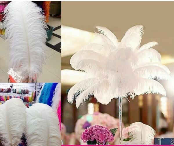 50 Pcs White 26-28 inches Ostrich FeatherPlumeWing Horse Feathers