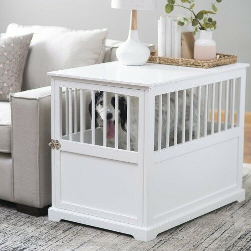 Newport Dog Stylish Wood Crate End Table Indoor Kennel Furniture White Large