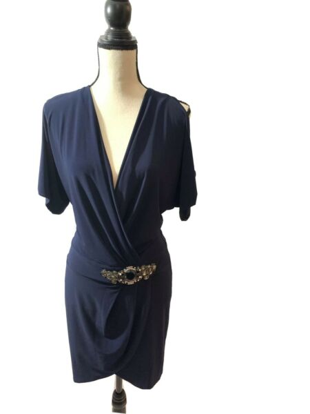 Sexy Elegant Navy Blue Dress Size Small By Janine Of London Made In USA