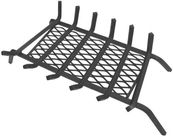 Fireplace Grate Ember Retainer 30 in. Home Heating Sturdy Steel Solid Black