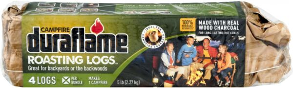 Fireplace Logs Campfire Roasting 5-lb Renewable Real Wood Charcoal 4-Pack