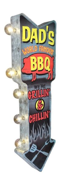 Dad's BBQ Grillin & Chillin Metal Sign W LED Lights Double Sided Arrow Shaped